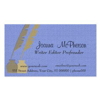 Pluma de la pluma - azul y oro plantilla de tarjeta personal