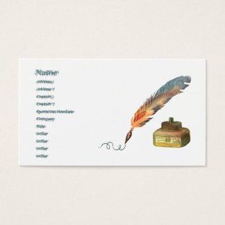 Pluma de la pluma tarjetas de visita