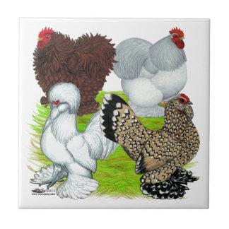 Pluma de los gallos Legged Azulejo Cuadrado Pequeño