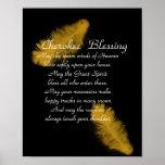 Pluma de oro de la bendición cherokee en negro posters