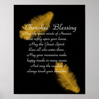 Pluma de oro de la bendición cherokee en negro póster