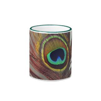 Pluma de reclinación del pavo real taza a dos colores