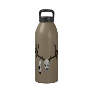 Pluma del águila del cráneo del ciervo mula botellas de beber