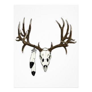 Pluma del águila del cráneo del ciervo mula membrete a diseño