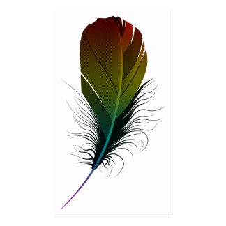 pluma del arco iris tarjetas de visita