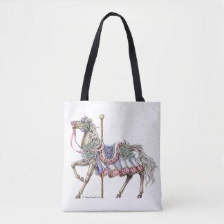 Pluma del caballo del carrusel del invierno y la bolsa de tela