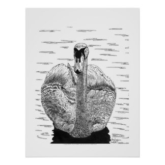 Pluma del cisne e impresión adaptable de la tinta póster