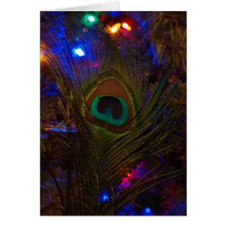 Pluma del navidad del pavo real tarjeta de felicitación