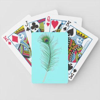 Pluma del pavo real baraja cartas de poker
