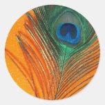 Pluma del pavo real con todavía del brillo vida an pegatinas redondas