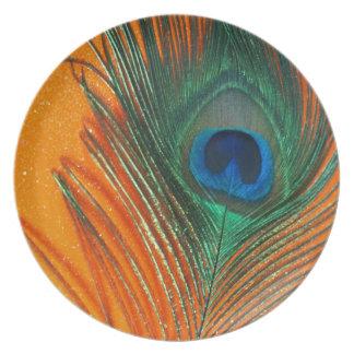 Pluma del pavo real con todavía del brillo vida an plato de cena