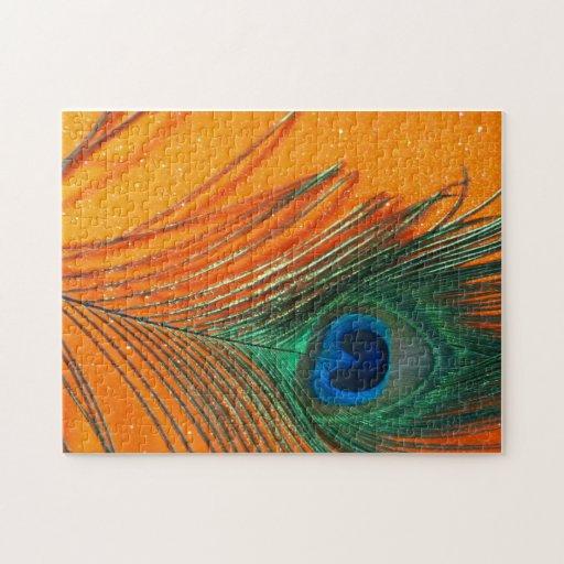 Pluma del pavo real con todavía del brillo vida an puzzles con fotos