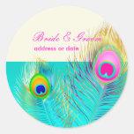Pluma del pavo real de etiquetas redondas