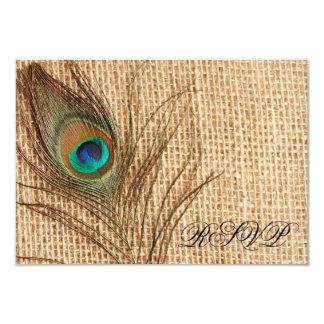Pluma del pavo real de la arpillera que casa RSVP Invitación 8,9 X 12,7 Cm