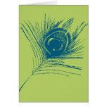 Pluma del pavo real de la verde lima y del azul felicitación