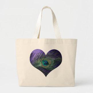 Pluma del pavo real de Purple Heart Bolsa