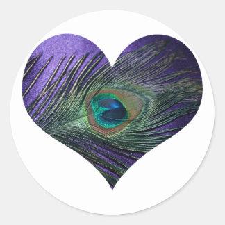 Pluma del pavo real de Purple Heart Pegatina Redonda