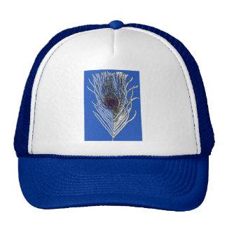 Pluma del pavo real del azul real gorras