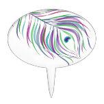 Pluma del pavo real del dibujo original decoración de tarta