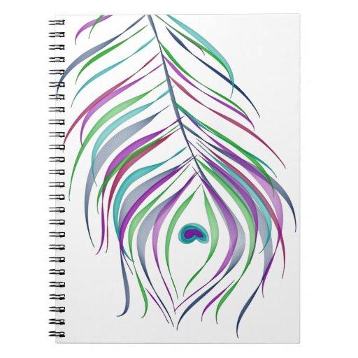 Pluma del pavo real del dibujo original cuaderno