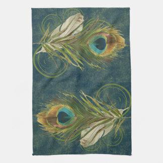 Pluma del pavo real del trullo del vintage toalla