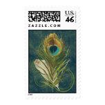 Pluma del pavo real del trullo del vintage sello
