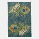 Pluma del pavo real del trullo del vintage toallas