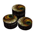 Pluma del pavo real del vintage juego de fichas de póquer