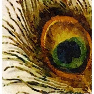 Pluma del pavo real del vintage fotoescultura vertical