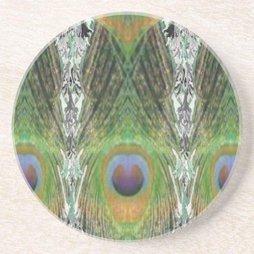 Pluma del pavo real - Digital formada pescado Posavasos Personalizados