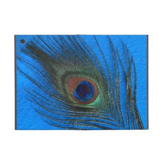 Pluma del pavo real en azul iPad mini carcasa