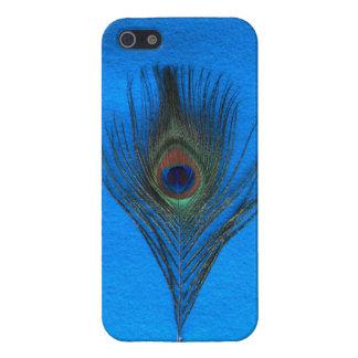 Pluma del pavo real en el caso brillante listo del iPhone 5 protector