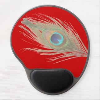 Pluma del pavo real en rojo alfombrillas con gel
