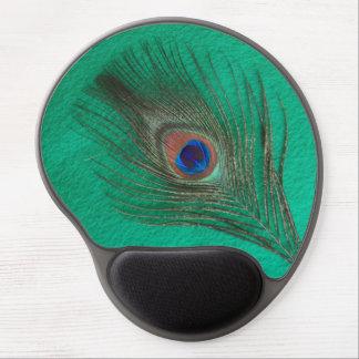 Pluma del pavo real en verde alfombrilla con gel
