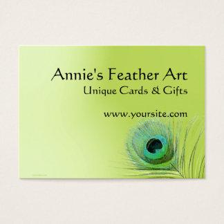 Pluma del pavo real en verde tarjetas de visita grandes