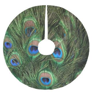 Pluma del pavo real falda para arbol de navidad de poliéster