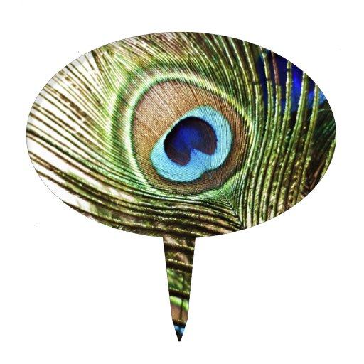 Pluma del pavo real figura de tarta