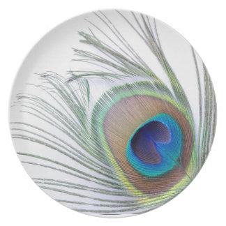 Pluma del pavo real plato