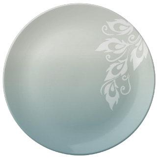 Pluma del pavo real plato de cerámica