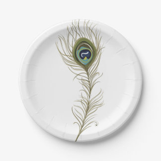 Pluma del pavo real plato de papel de 7 pulgadas