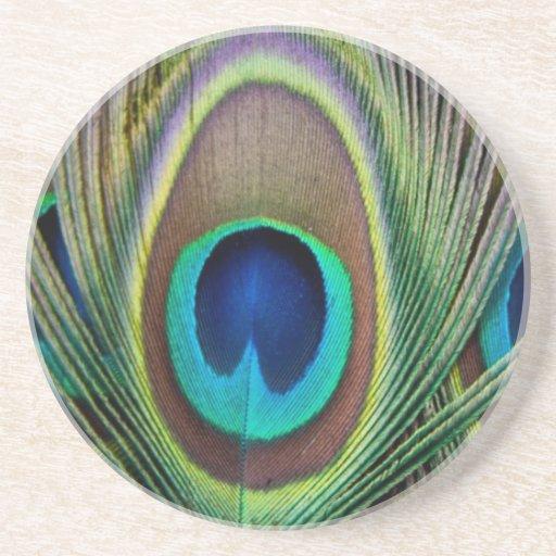 Pluma del pavo real posavasos personalizados