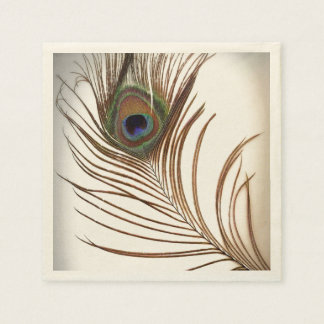 Pluma del pavo real servilletas de papel