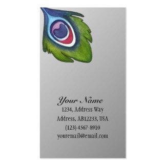 Pluma del pavo real tarjetas de visita