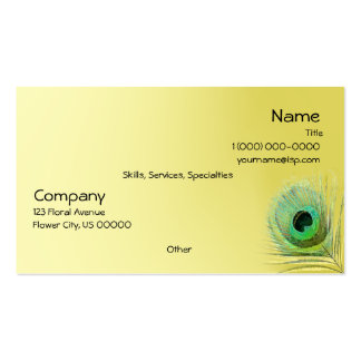 Pluma del pavo real tarjeta personal