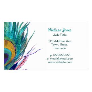 Pluma del pavo real tarjeta de negocio