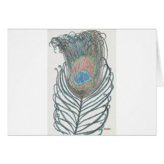 Pluma del pavo real tarjeta de felicitación
