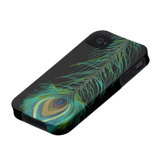 Pluma del pavo real usted elige color de fondo iPhone 4 fundas