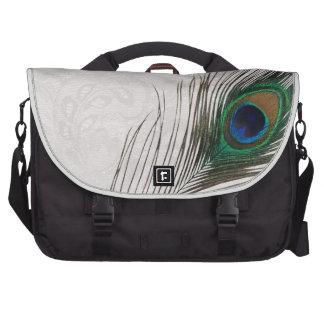 Pluma del pavo real y bolso del ordenador portátil bolsas de ordenador