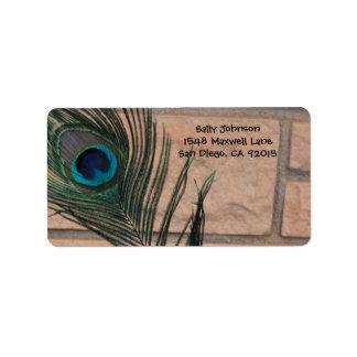 Pluma del pavo real y etiquetas de dirección de