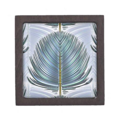 Pluma estilizada del pavo real - azul cajas de regalo de calidad